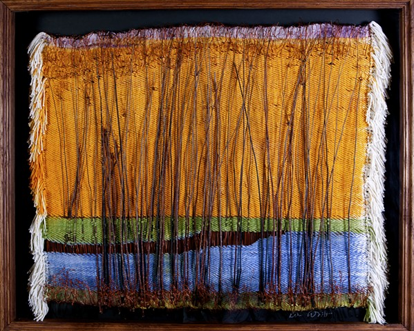 Painted warp and handwoven landscape