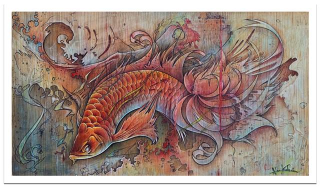 fish food 2012 colored pencil/ink 5 x 10  prints