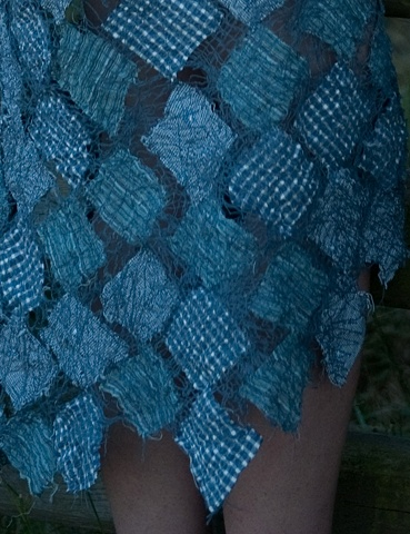 Blue thread painting dress detail