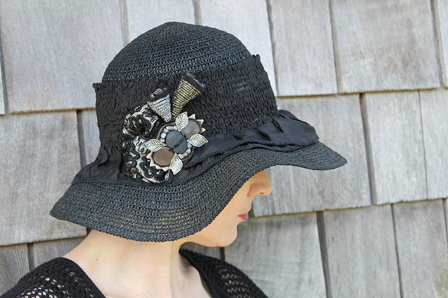 Black Straw Hat w/ detail
