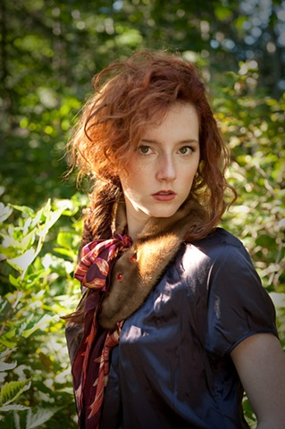 Recycled mink and designer silk scarf