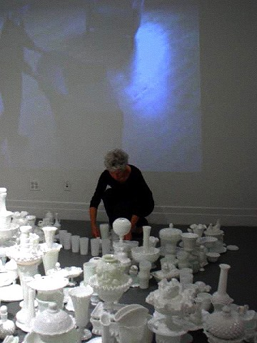 art performance, milk glass, mandala, domestic, feminist, spiritual Crit Streed artist