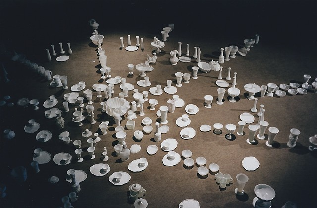 art performance, milk glass, mandala, domestic, feminist, spiritual