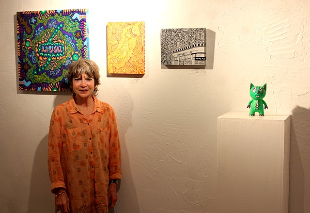 Mark Metzer's mother, supporting the exhibit in the absence of the artist!