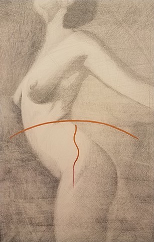 Nude drawing in silveerpoint by Jon gernon