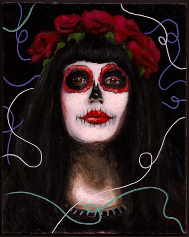An acrylic painting of a girl in death makeup by Jon Gernon