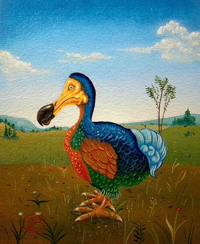 a painting by jon gernon of a dodo bird with gold wings