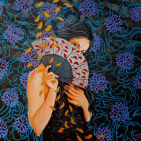 An oil and gold painting of a Japanese girl with a Japanese fan by Jon gernon