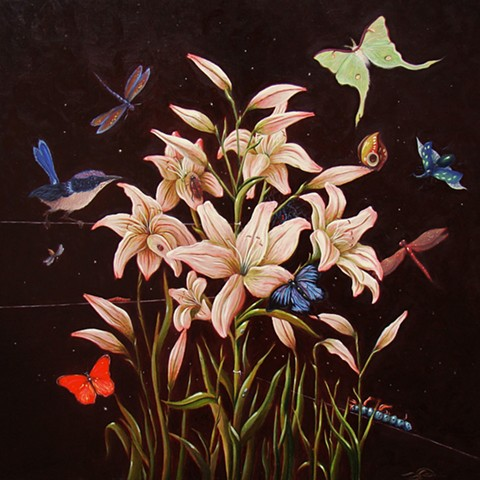 An egg tempera and oil Mische technik painting of flowers and insects  by Jon Gernon