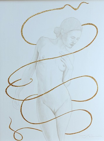 A silverpoint & shell gold drawing by Jon gernon
