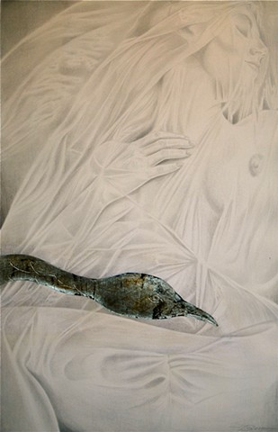 A drawing of leda and the swan in silverpoint and goldpoint and metalpoint by Jon Gernon.
