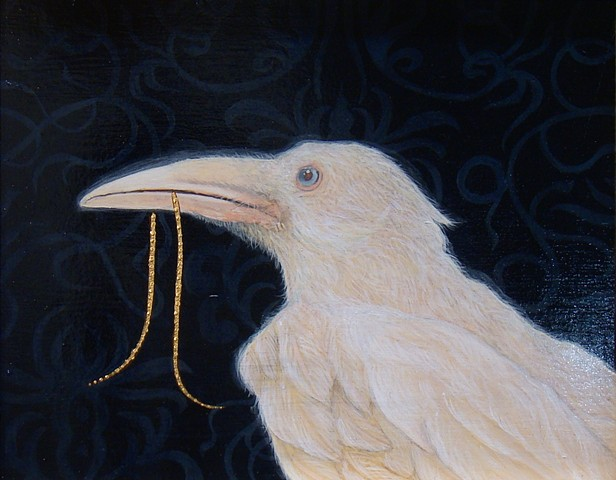A painting of a white albino raven
