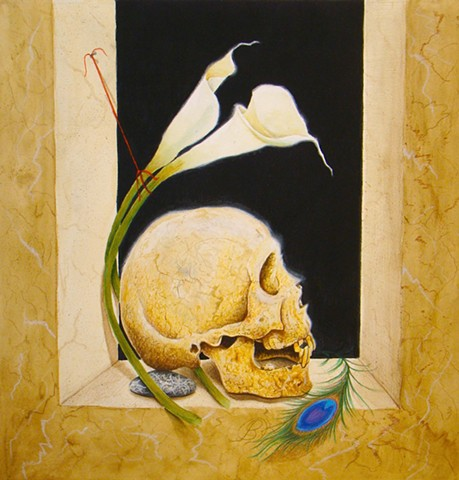 A gouache and watercolor painting of a skull memento mori by Jon Gernon