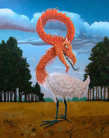 A besitary picture of a dragon with a cranes head by jon gernon