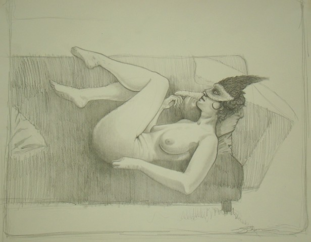 A pencil and graphite drawing by jon gernon of a nude woman with a mask