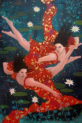 A painting of two woman sisters Japanese mythology koi fish by Jon gernon