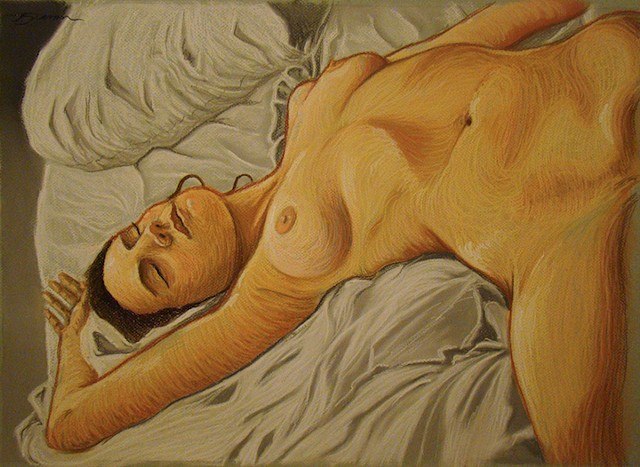 A nude pastel  of a woman by Jon gernon