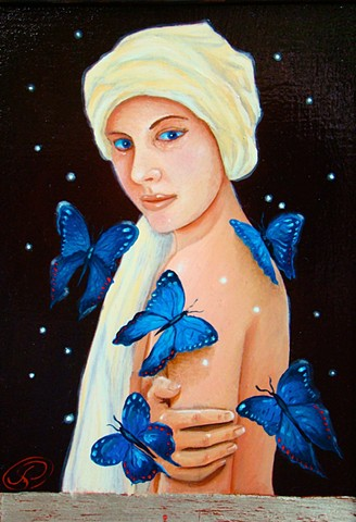 A oil and egg tempera painting of a woman with blue butterflies.