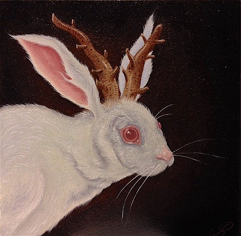 Oil painting by jon Gernon of Great Horned Albino Rabbit