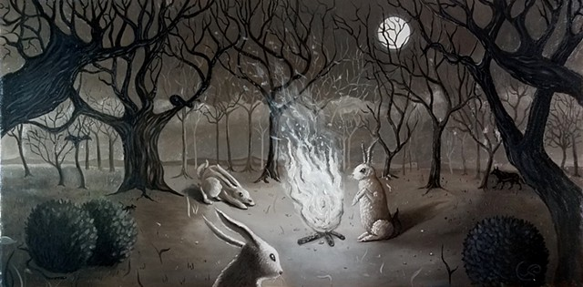 Jon Gernon oil oainting of rabbits and witches the conjuring