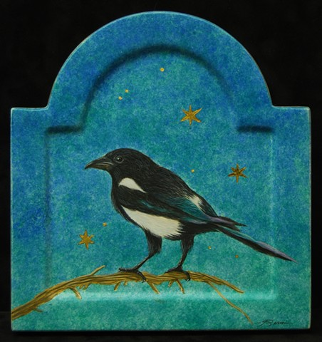 An egg tempera painting of a magpie by Jon gernon