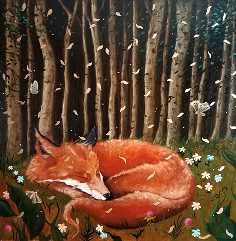 Oil painting of a red fox by Jon Gernon