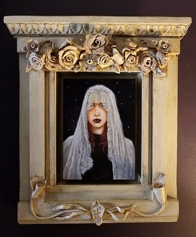Acrylic and oil painting of a gothic female by Jon Gernon