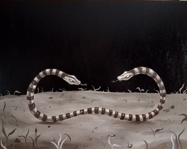 Two Headed snake oil painting by Jon Gernon