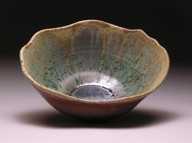 Copper Green Refired Raku Wave Bowl to cone 11