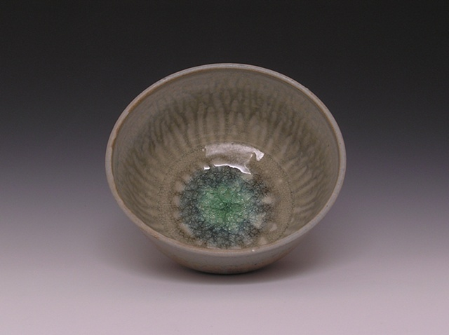 Hickory Ash Serving Bowl with Blue-Green Glass