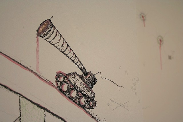 Tankship, detail of wall drawing