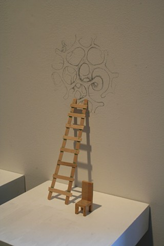 Chair, Ladder, and System drawing at Ann Tower Gallery