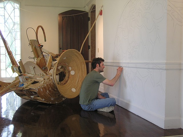 At the LAL's Loudoun House creating the drawing for Tankship, part of the exhibition titled Wall to Wall