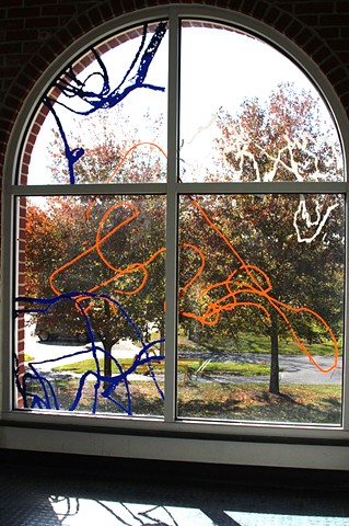 Stonehill College Doodle Window