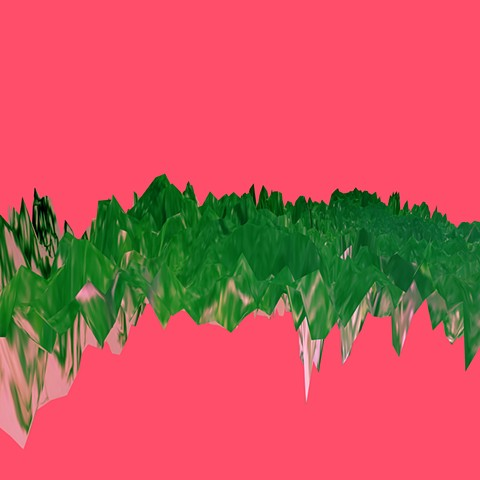 Digital artwork, polygonal mountains on pink background, created by J4Kd
