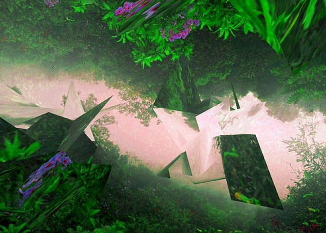 Digital artwork, cloud forest and polygons, Oaxaca, created by J4Kd