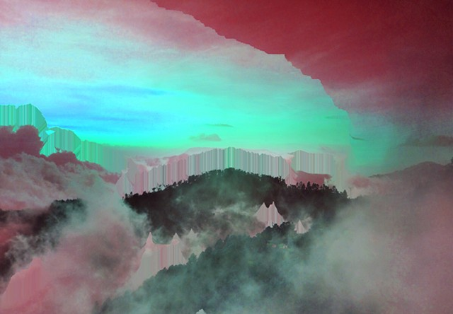 Digital Artwork, glitched mountain, created by J4Kd