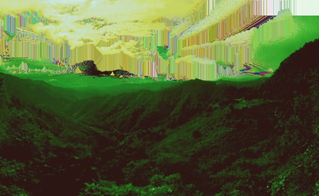 Digital artwork, glitched sky over forested mountains, created by J4Kd