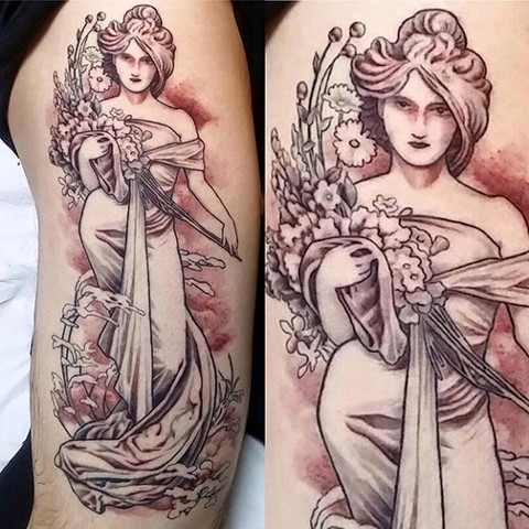 LovecraftTattoo, Tattoo Studio, Connecticut Tattoo Studio, CT Tattoo, Best Tattoo, Alphonse Mucha, Christian DiMenna,Black and Gray, Connecticut, New England,