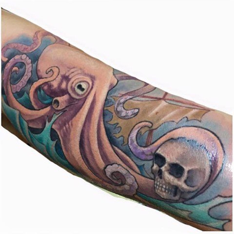 LovecraftTattoo, Tattoo Studio, Connecticut Tattoo Studio, CT Tattoo, Best Tattoo, Octopus Tattoo, Pirate Ship Tattoo, Connecticut, New England,
