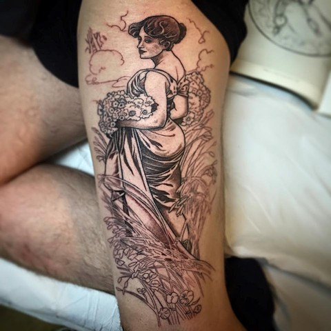 Alphonse Mucha Tattoo in Progress