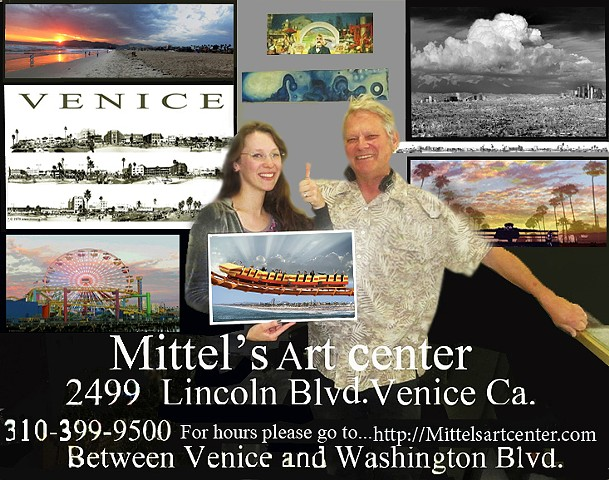 P.O.P. ticket poster art representative Mittel's Art Center Venice Ca.