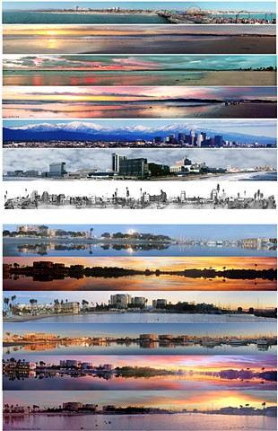 Twelve different Los Angeles Ca. Panoramas  one panorama of Atlantic City Boardwalk
