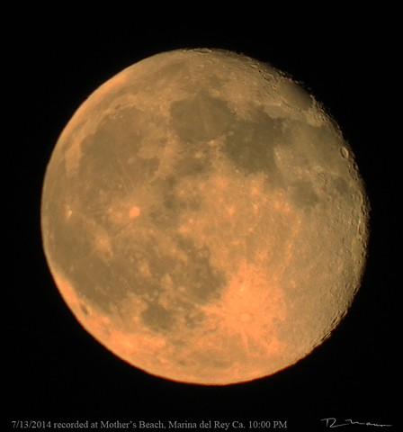 Waning SuperMoon photographed with a Meade 1,000 milemiter telesccope and Canon digital T3i camera