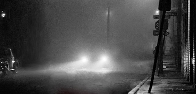 """Wandering in the foggy evening"" by Richard Mann, a black and white image of mystery and intrigue in the alleys of the ambiguous Venice Beach area."