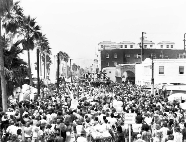 Venice Beach Ca. Boardwalk Aerial view facing North at Hare Krishna Festival 1974