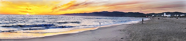 Santa Monica Ca. Sunset / Malibu Mountains