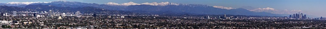Los Angeles Panorama 2/27/11 after a heavy snow fall viewed from Hollywood to Big Bear in So. CA.  Mt