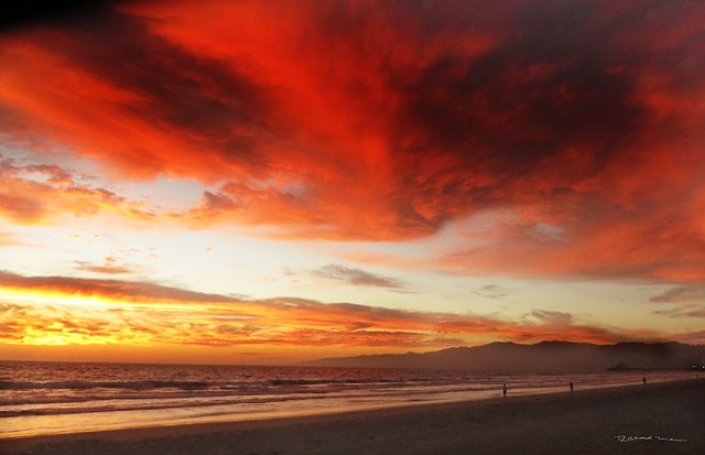 Santa Monica Mountains and beach at the sunset.