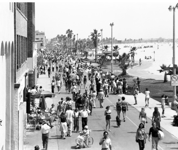 Venice Beach Ca. Ocean Front Walk (Boardwalk) areial view facing south 1974
